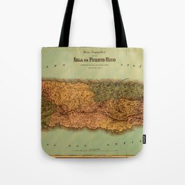 Map Of Puerto Rico 1886 Tote Bag