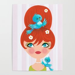 Bluebirds Alight On A Lovely Lady Poster