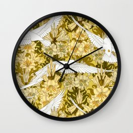 Doves and lilies Wall Clock