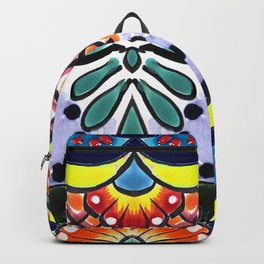 Colorful Talavera, Yellow Accent, Mexican Tile Design Backpack