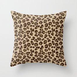 Leopard-Beige+Brown Throw Pillow