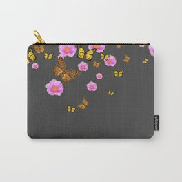 GREY PINK WILD ROSES  MONARCH BUTTERFLIES Carry-All Pouch