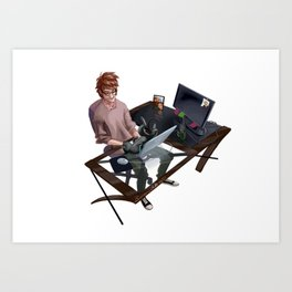 Hiccup_CatToothless Art Print