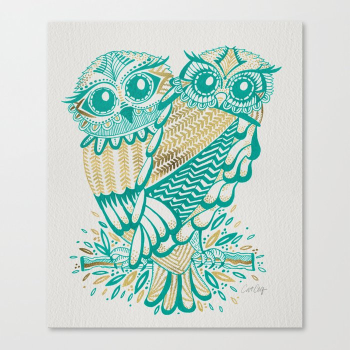 Owls – Turquoise & Gold Canvas Print