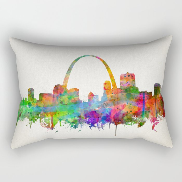 st louis city skyline watercolor Rectangular Pillow
