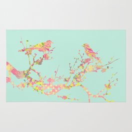 Love Birds on Branch Vintage Floral Shabby Chic Pink Yellow Mint Rug
