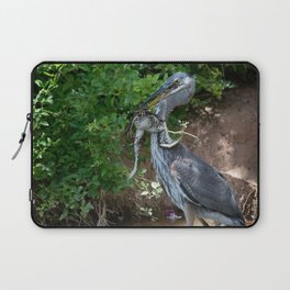 Great Blue Heron Catching Huge Frog - 2 Laptop Sleeve