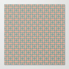Tuscan Tile Pattern Modern Geometric Turquoise and Peach Canvas Print