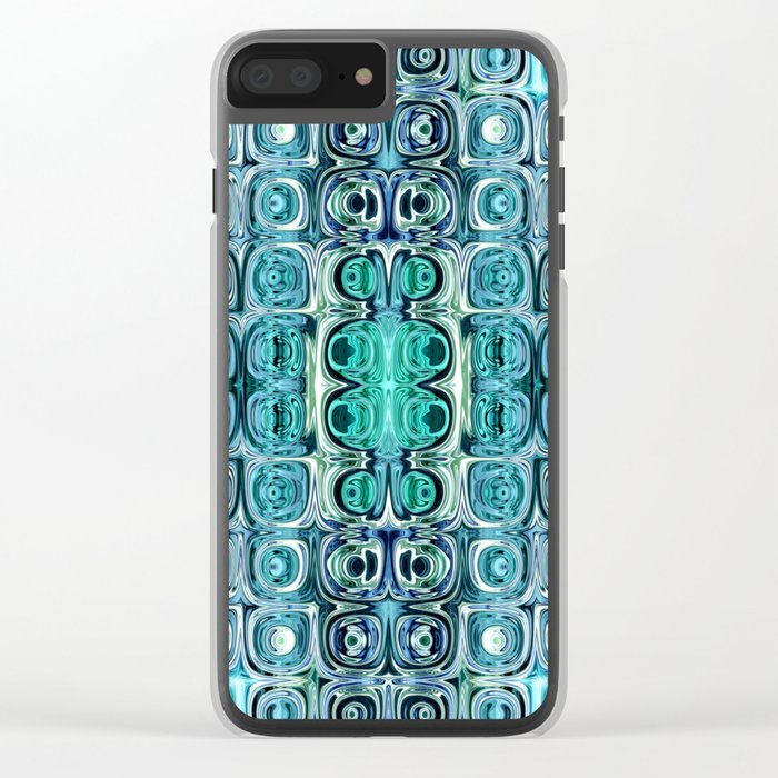 Turquoise And Teal Reflections Clear iPhone Case