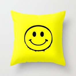 smiley face rave music logo Throw Pillow