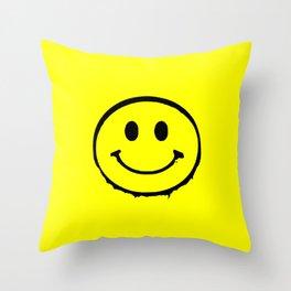 smiley face rave music logo Throw Pillow