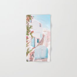 Santorini Greece Mamma Mia Pink House Travel Photography in hd. Hand & Bath Towel