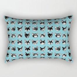 Kitten Faces: Blue Rectangular Pillow