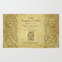 shakespeare Area & Throw Rugs featuring Shakespeare. Othello, 1622. by BiblioTee