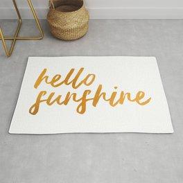 Hello Sunshine - Gold and white background Rug