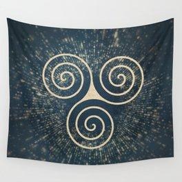 Triskelion Golden Three Spiral Celtic Symbol Wall Tapestry