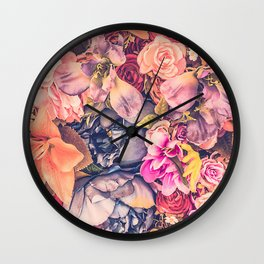 Beautiful background with different flowers Wall Clock