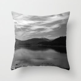 View over the Loch b/w Throw Pillow
