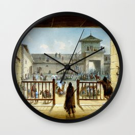 Alfred Jacob Miller Interior of Fort Laramie Wall Clock