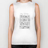 baloon Biker Tanks featuring Cityscape from baloon flight by posterilla