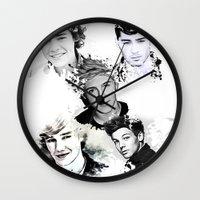 1d Wall Clocks featuring 1D Splat by D77 The DigArtisT