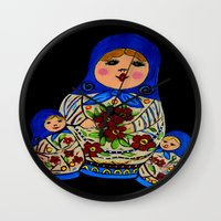 russian Wall Clocks featuring Russian dolls by maggs326