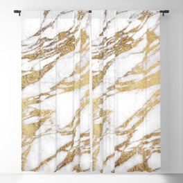 Chic Elegant White and Gold Marble Pattern Blackout Curtain