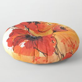 Red Poppy Flowers Watercolor Painting Floor Pillow