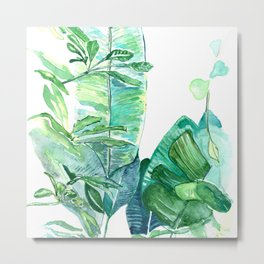 Hand painted watercolor tropical leaves Metal Print