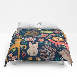 Blue Woodland Critters Pattern Comforters