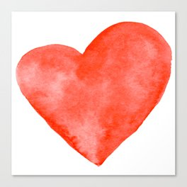 Red Watercolor Heart Canvas Print