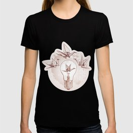 Origami paper cranes and light T-shirt