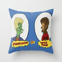 Frankenstein vs Wolf-man Throw Pillow