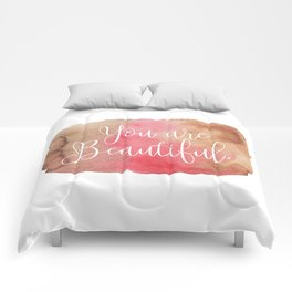 You are Beautiful - brown and pink Comforters