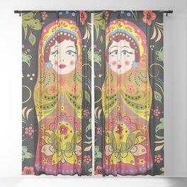 Russian matrioshka Sheer Curtain