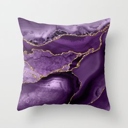 Glamour Purple Bohemian Watercolor Marble With Glitter Veins Throw Pillow