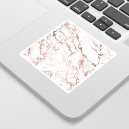 Modern chic faux rose gold white marble pattern Sticker