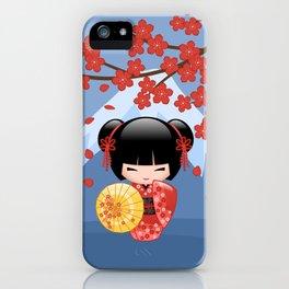 Japanese Red Sakura Kokeshi Doll on Blue iPhone Case