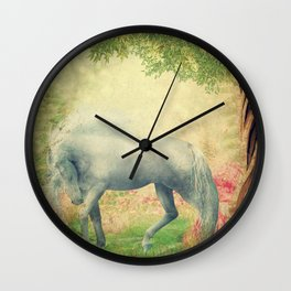 horse in a dreamy garden Wall Clock