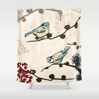 tits Shower Curtains featuring Blue Tits and Berries by Michelle Grace