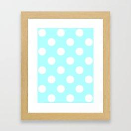 Large Polka Dots - White on Celeste Cyan Framed Art Print