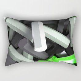 Pile of black, white and green hexagon details Rectangular Pillow