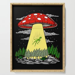 Alien Abduction Magic Mushrooms Psychedelic UFO Serving Tray