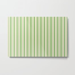Bud Green and Antique White Stripes Metal Print