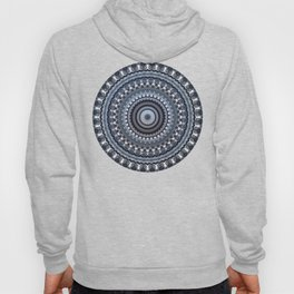 Winter accents on black and white mandala Hoody