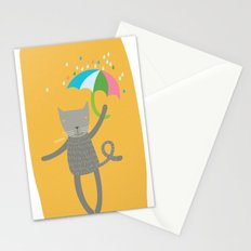 a cat is always prepared for the rain Stationery Cards