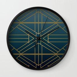 Navy & Bronzed Gold Striped Metallic Print Wall Clock