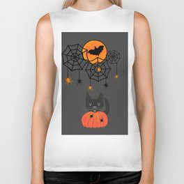Happy Halloween Pumpkin Moon Biker Tank