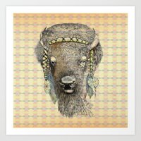 bison Art Prints featuring Bison by dogooder