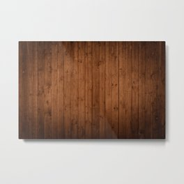 Barn Wall Made of Old Wooden Planks - Brown Metal Print